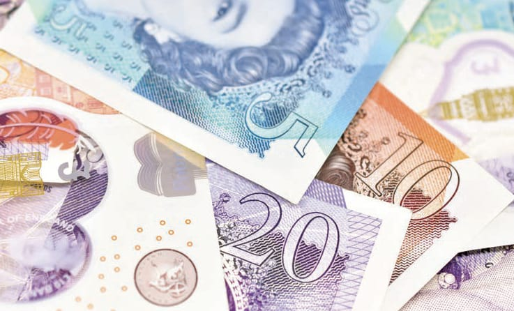 Close up of British currency notes