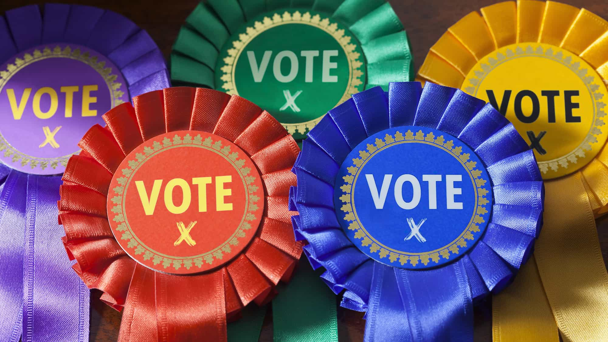 Close up of coloured rosettes for the principal UK political parties