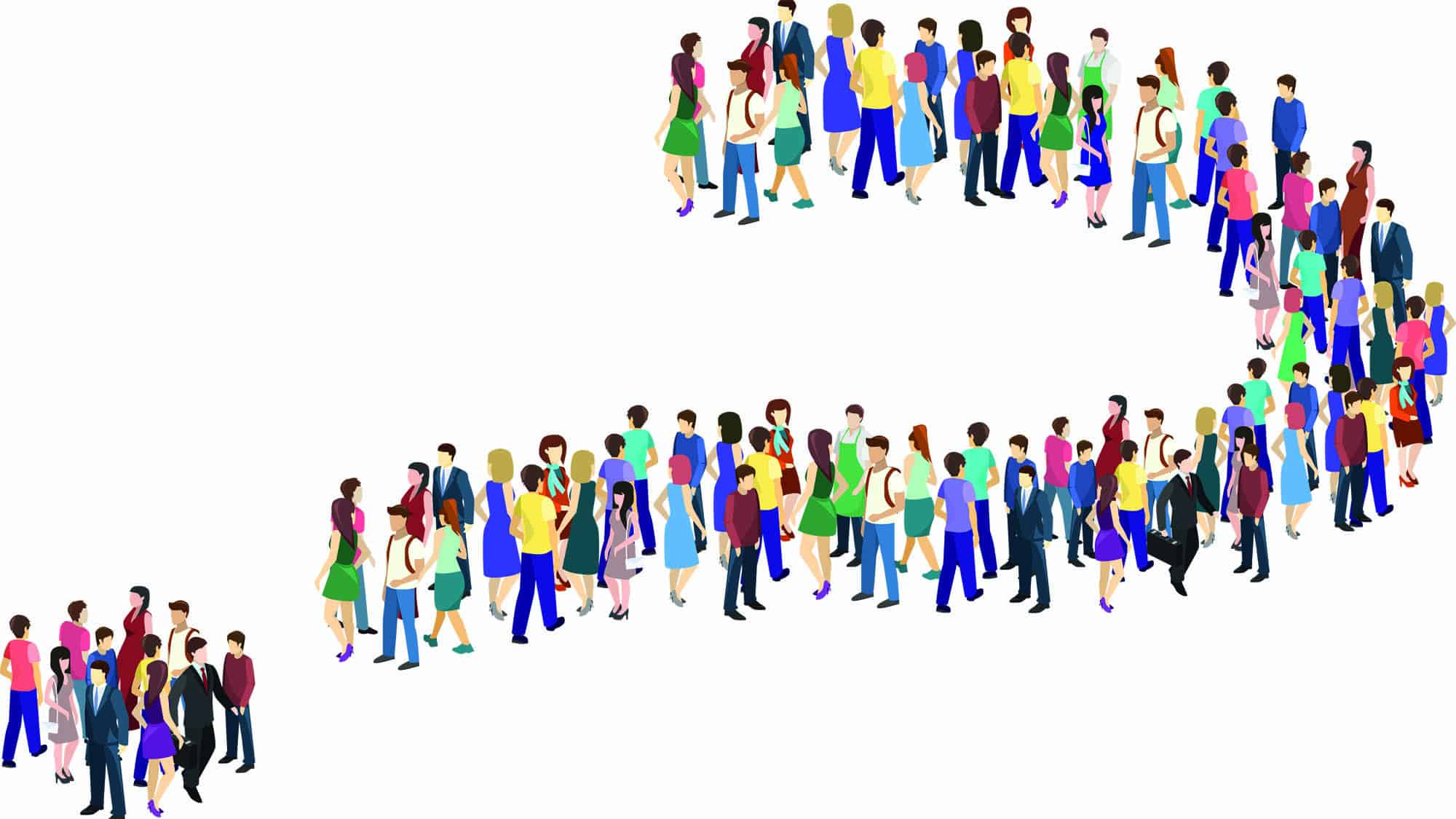 cartoon people grouped together to form a question mark symbol