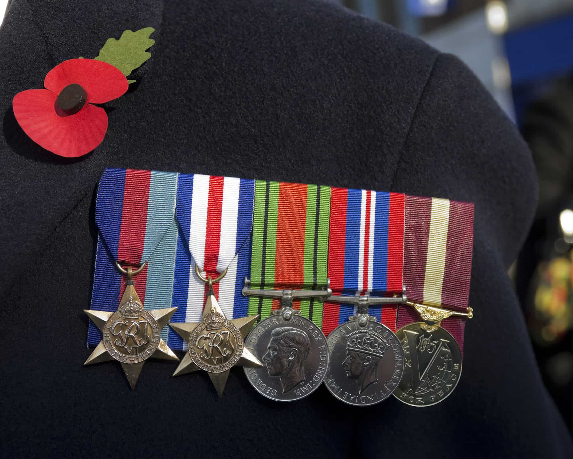 Close up of British Second World War Veteran's medals