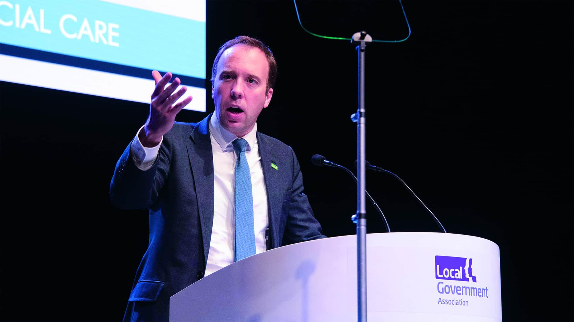 Matt Hancock MP on stage