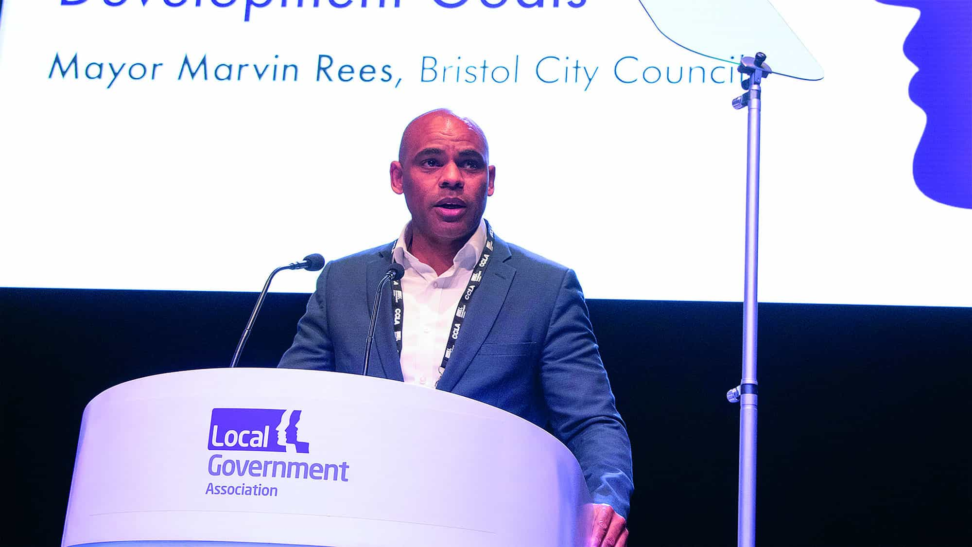 Mayor Marvin Rees. Bristol City Council on stage