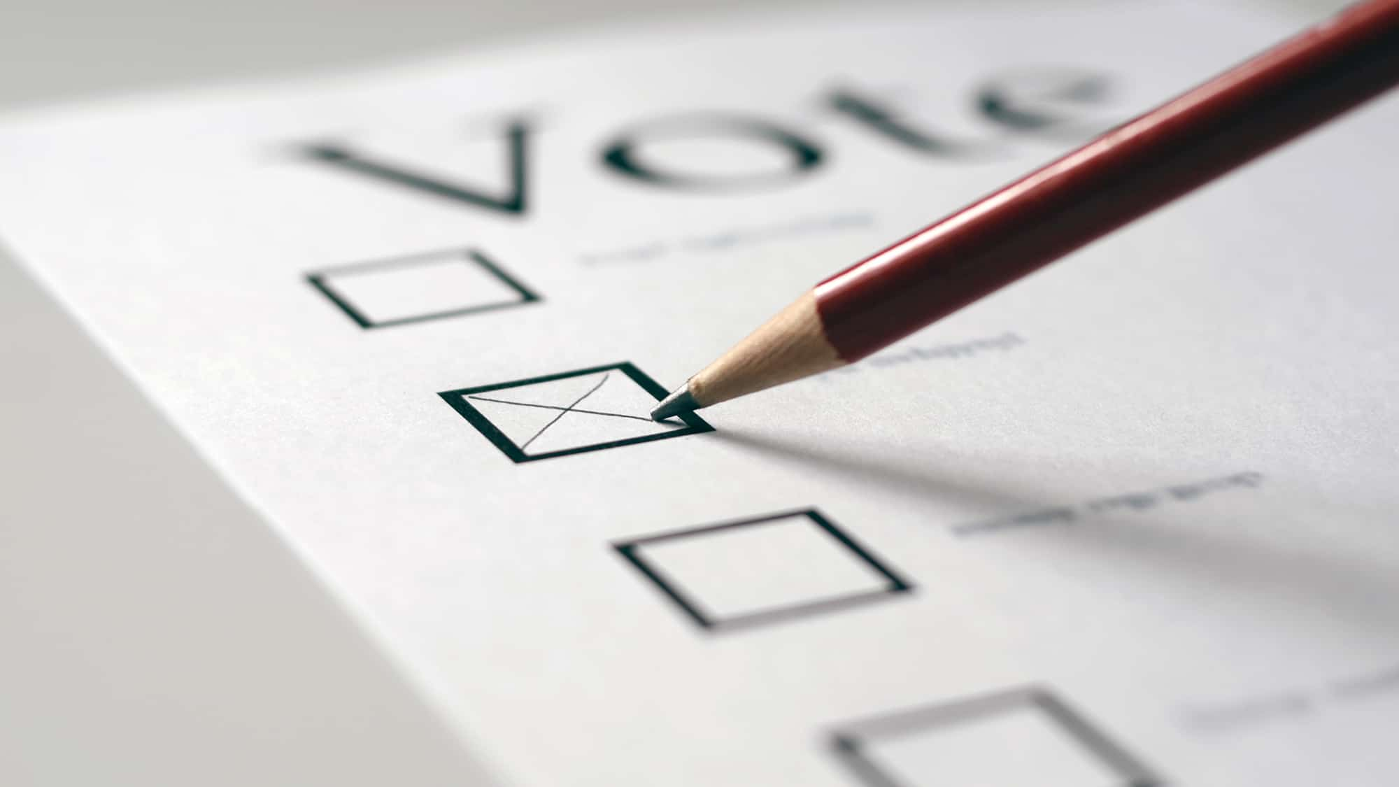 A voting card with pencil ticking a box
