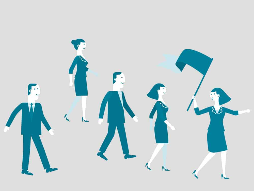 cartoon image of workers marching