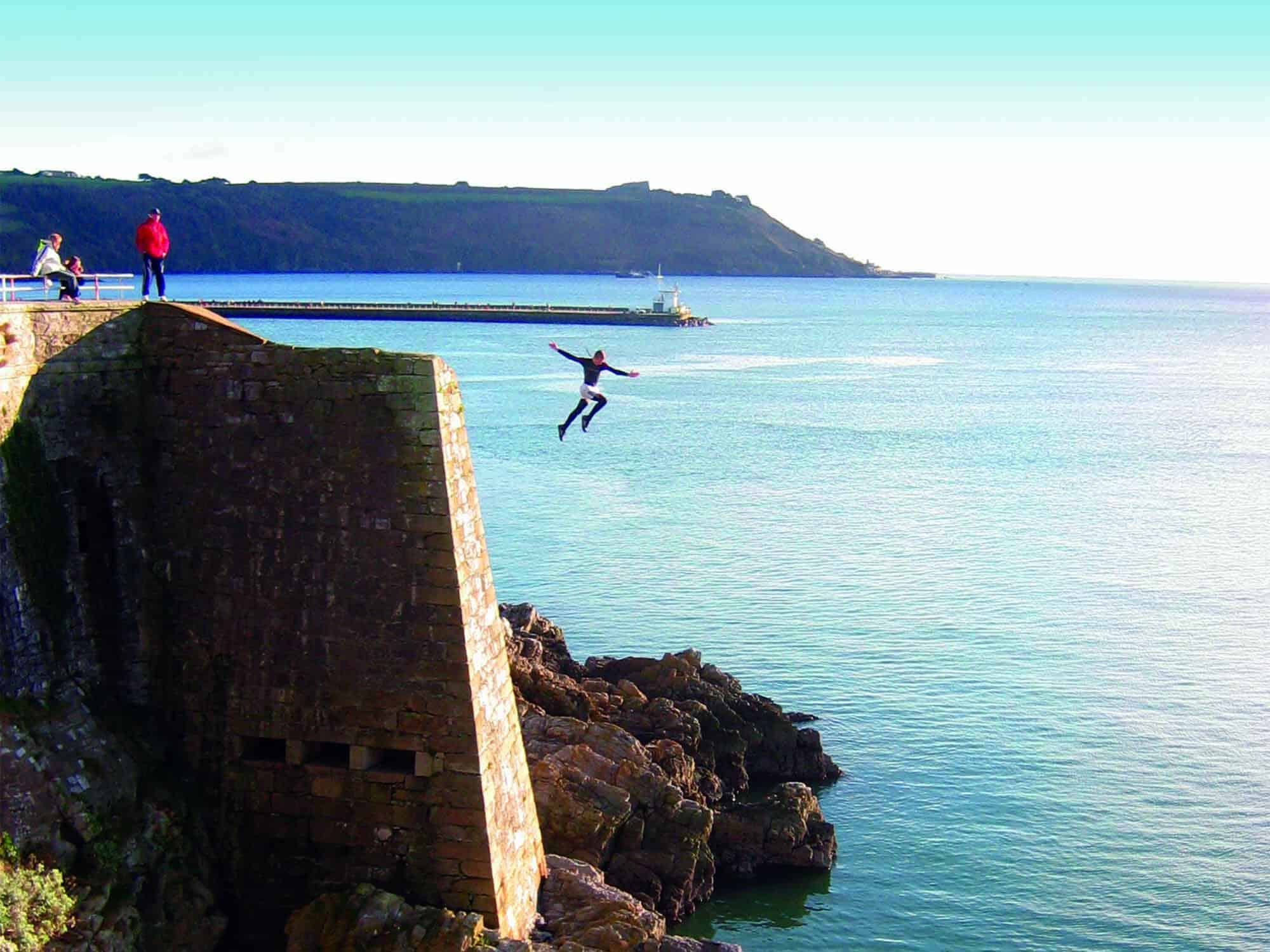 Jumping into the sea from a height