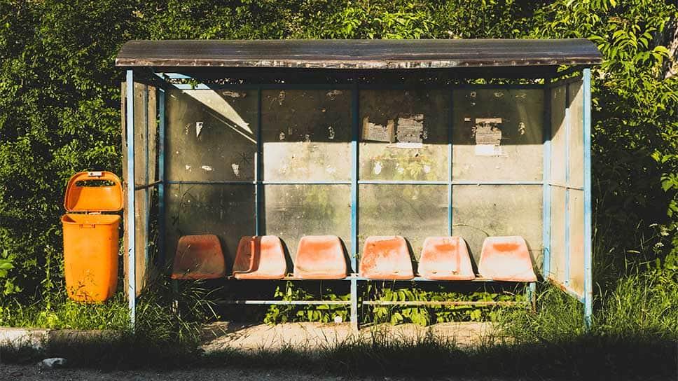 Worn down bus stop