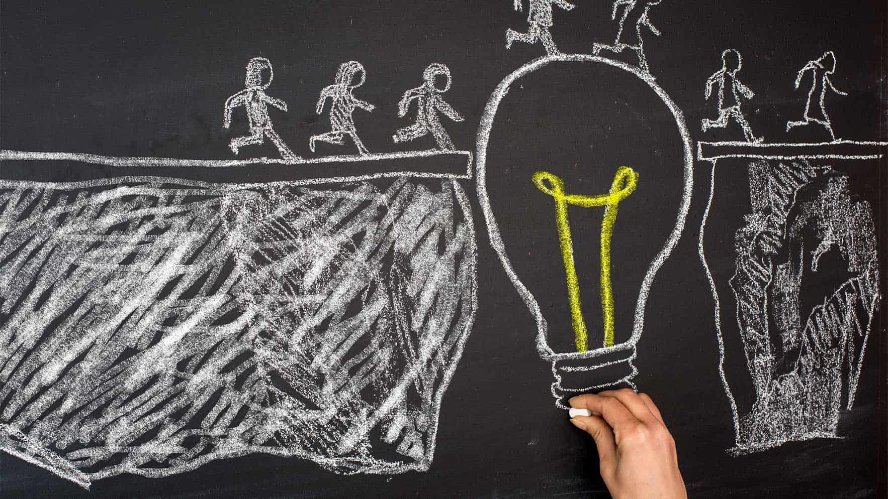 Light bulb drawn on a blackboard