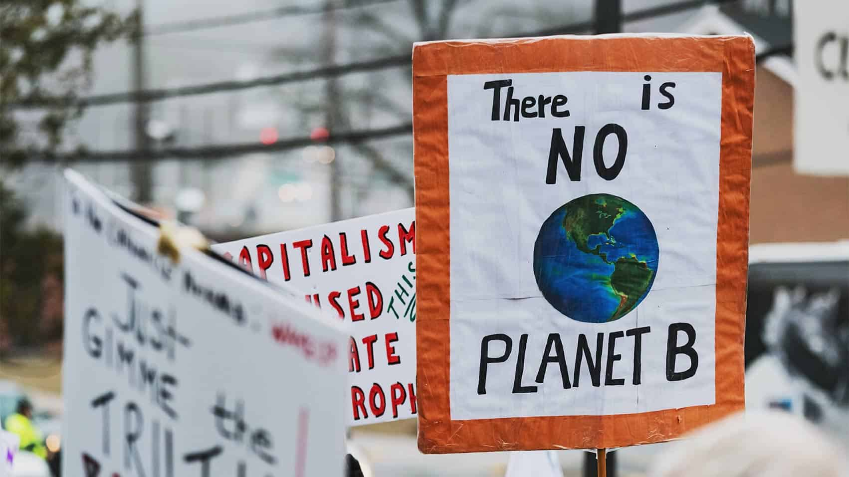 Protest placard saying 'there is no planet B'