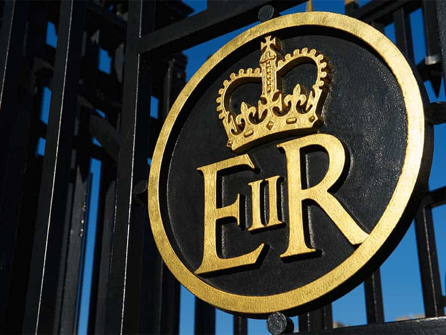 Royal crest on a gate