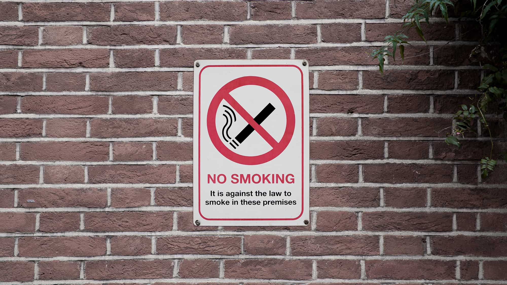 No smoking sign on a wall