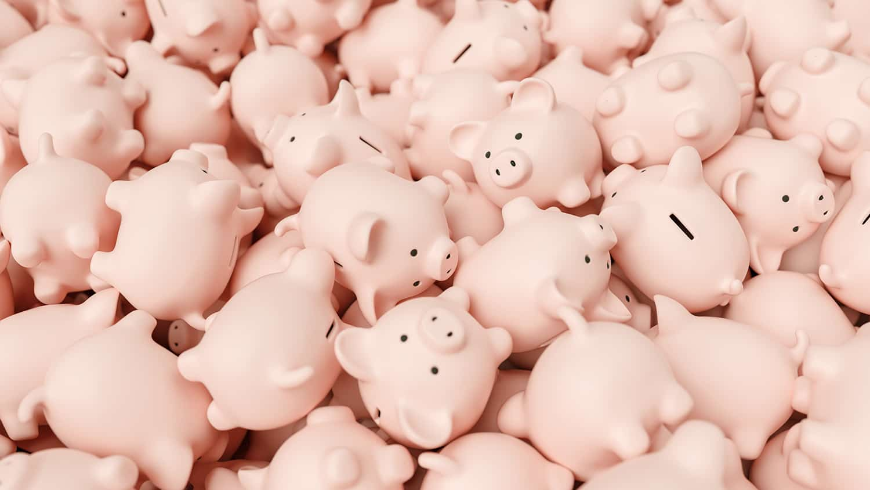 Box of toy piggy banks