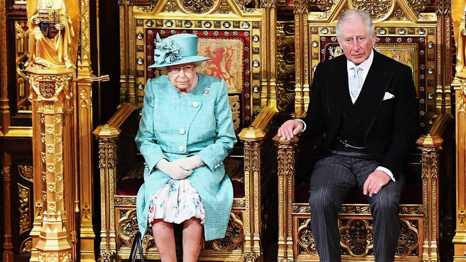 Queen and Prince Charles on the throne