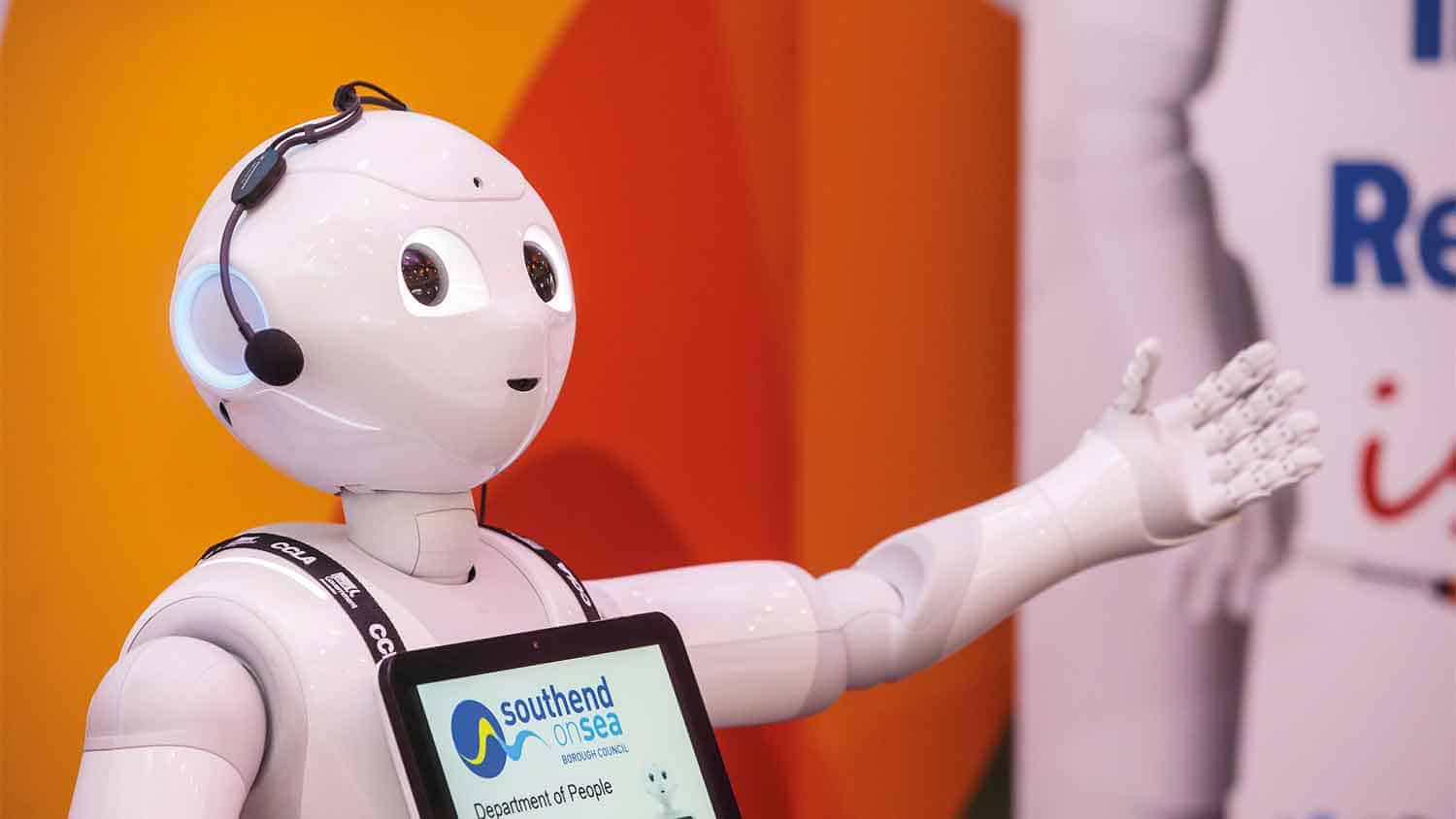 'Pepper the robot' with outstretched arm at the Innovation Zone