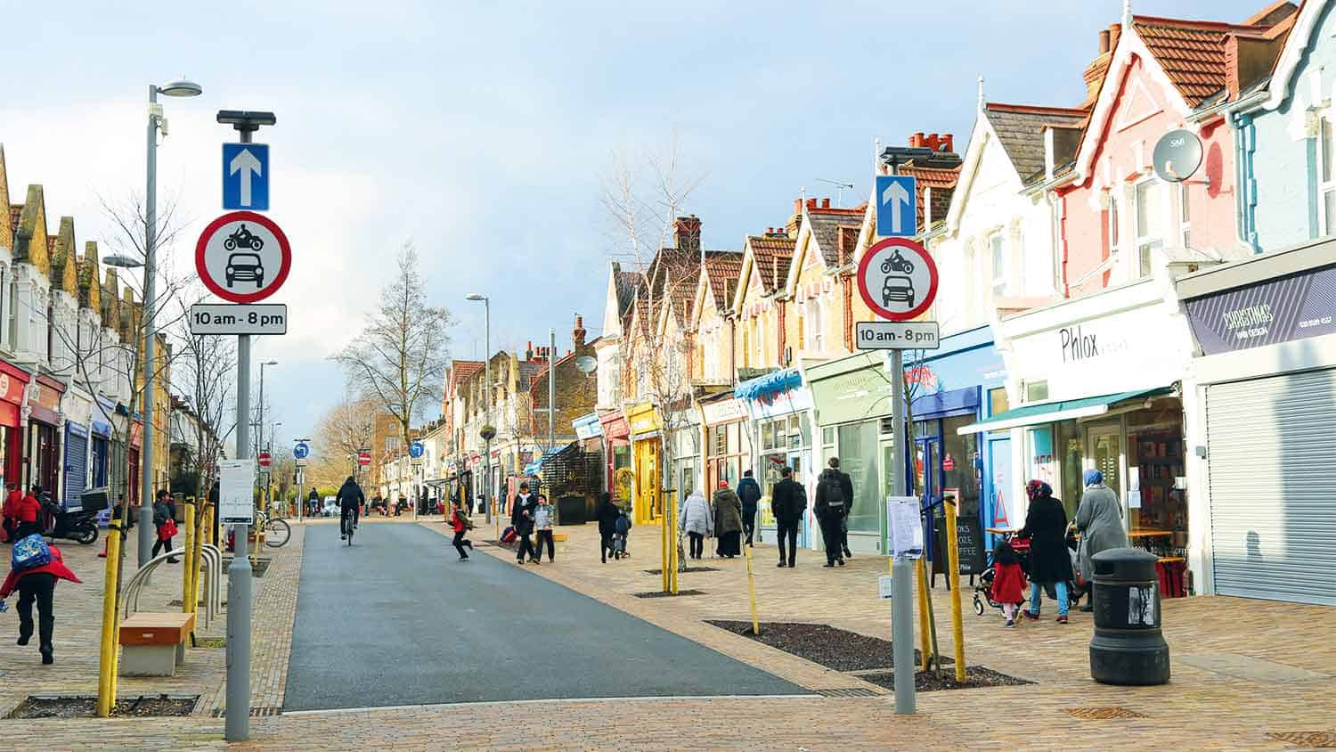 A high street with shops in London