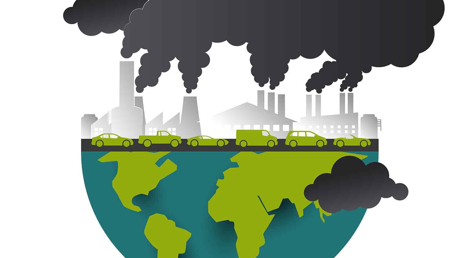 Drawing of cars and industry polluting the planet
