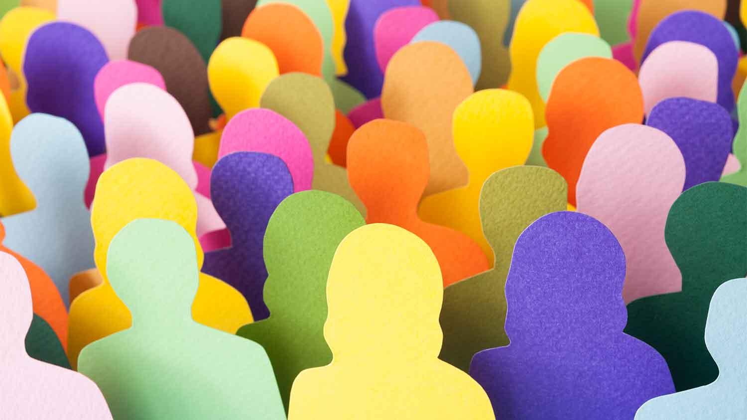 Card board cut outs of people of different colours