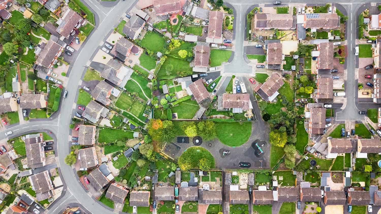 arial image of suburban homes