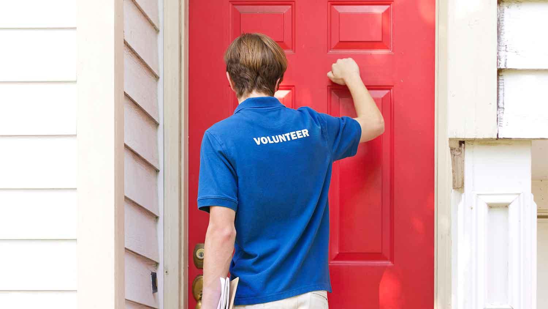 Man knocking at a door