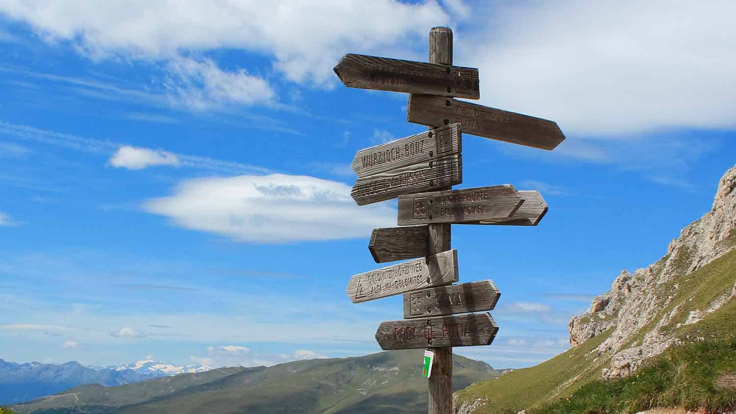 A signpost in the mountains