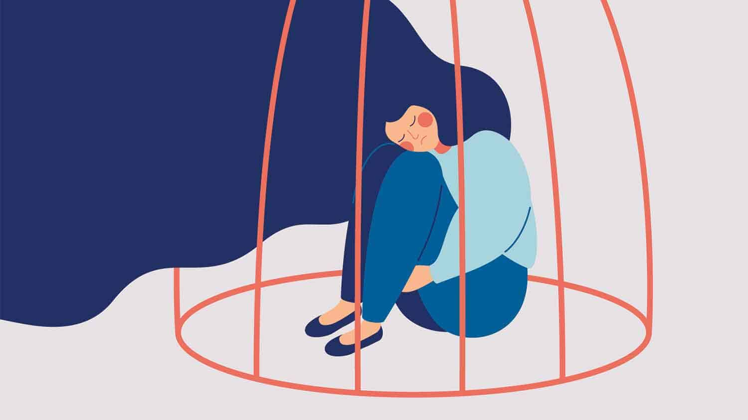 Graphic of a woman alone in a cage