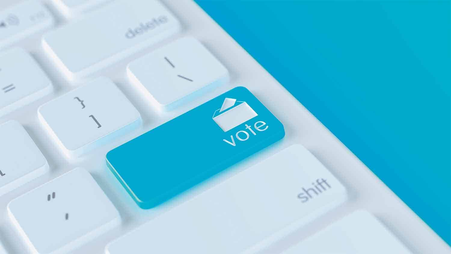 Vote button on a keyboard