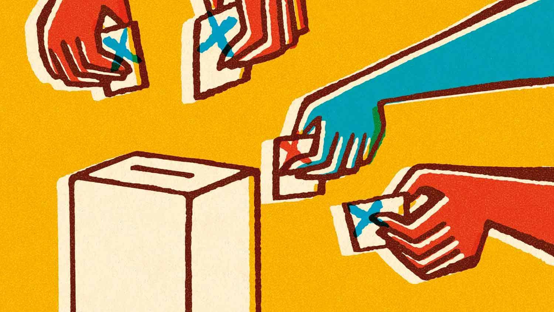 Cartoon hands going to a ballot box