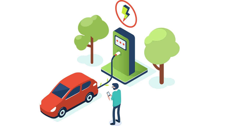 Cartoon of an electric car charging up