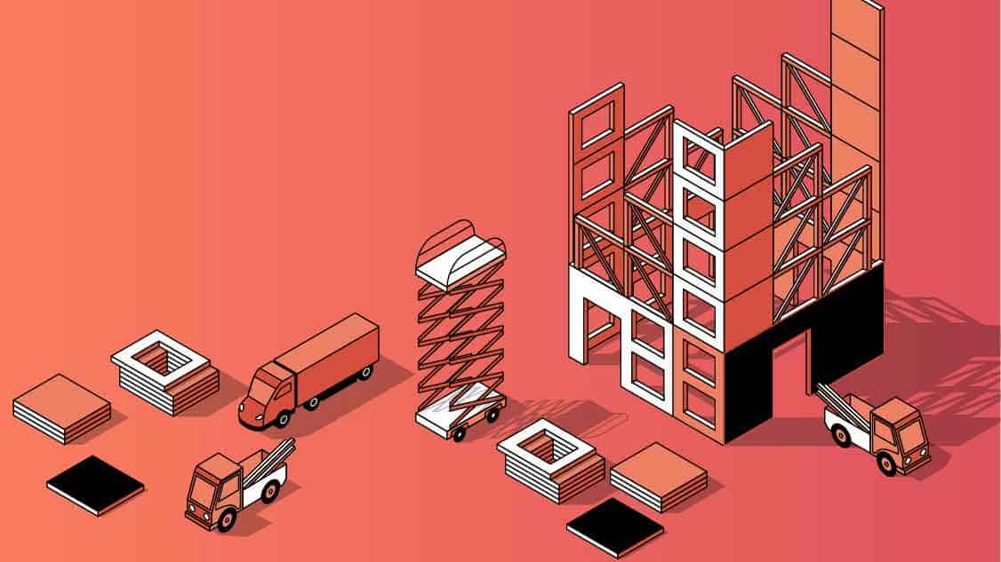 Graphic image of lorries parked around some halfway built buildings