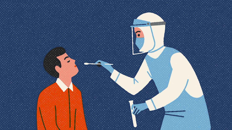 Cartoon image of a healthcare worker testing a man for coronavirus