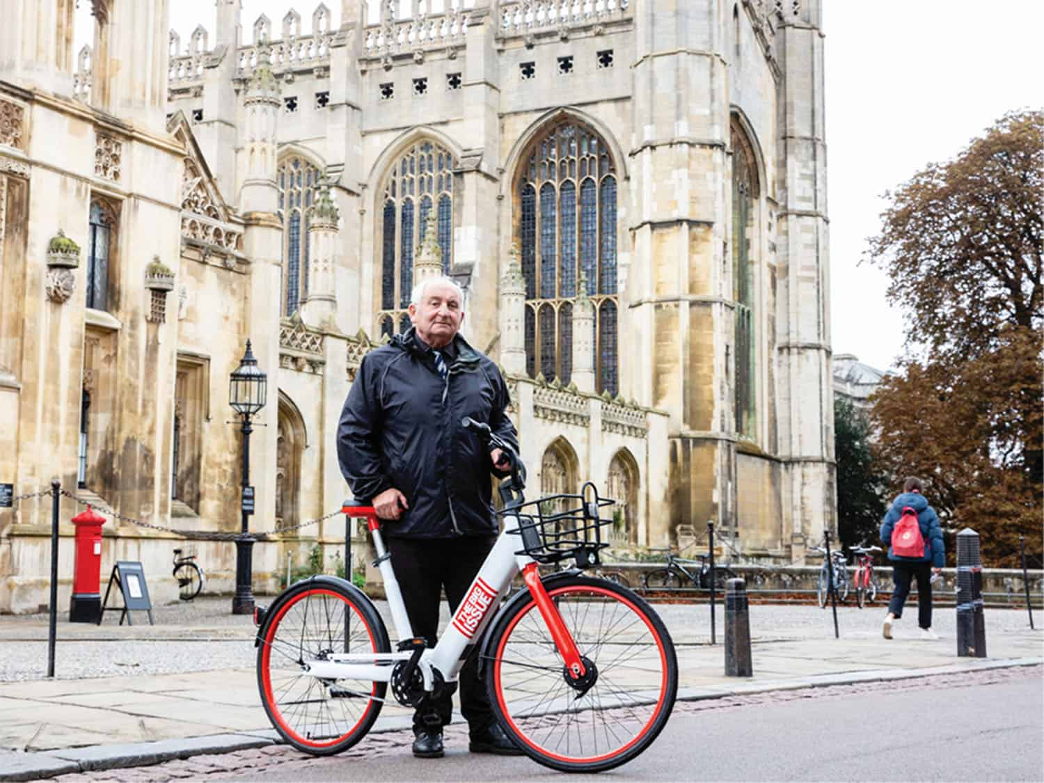 Lord Bird posing with a Big Issue bike