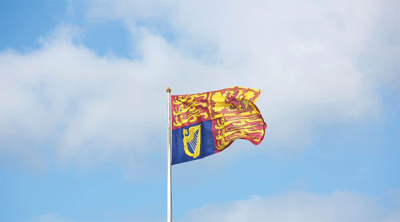 A flag raised in the air