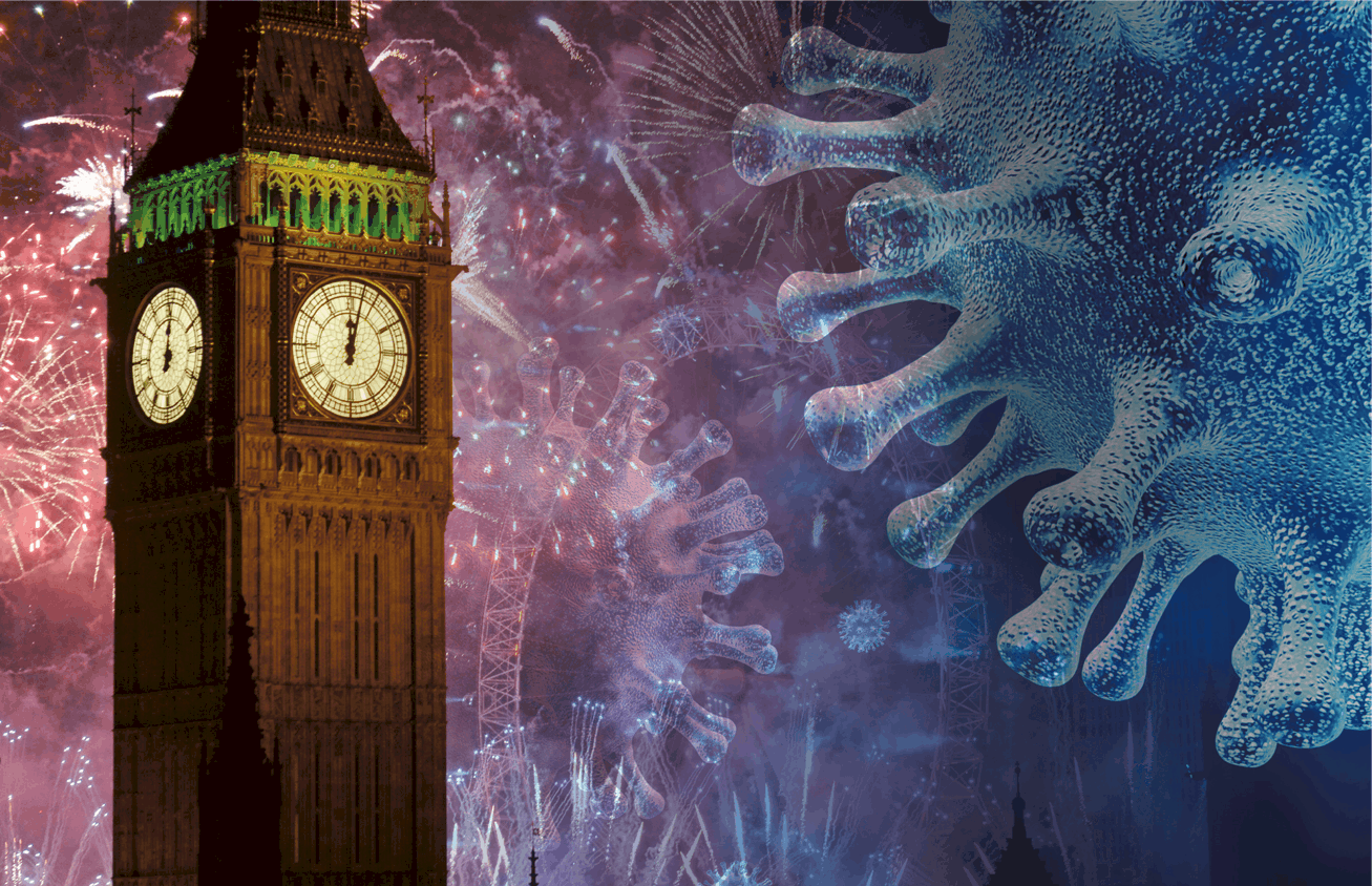 A graphic image of big ben on New years eve, with the covid germ hovering next to it