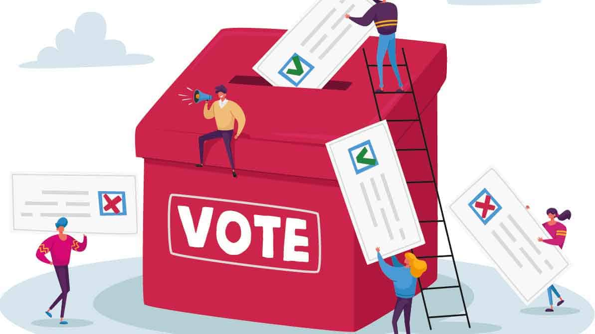 Voting box with ballots going in (cartoon)
