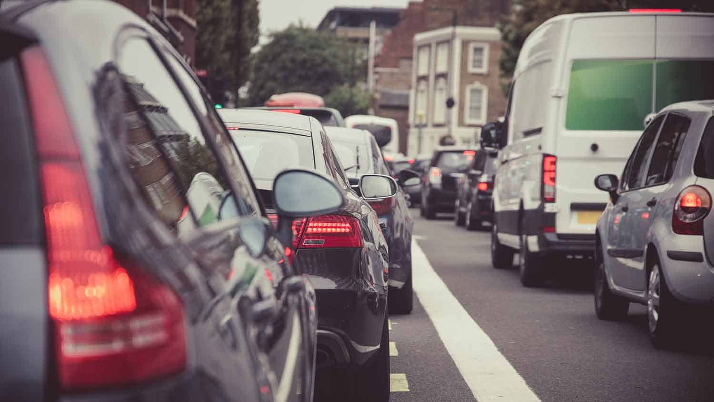Long line of stationary traffic