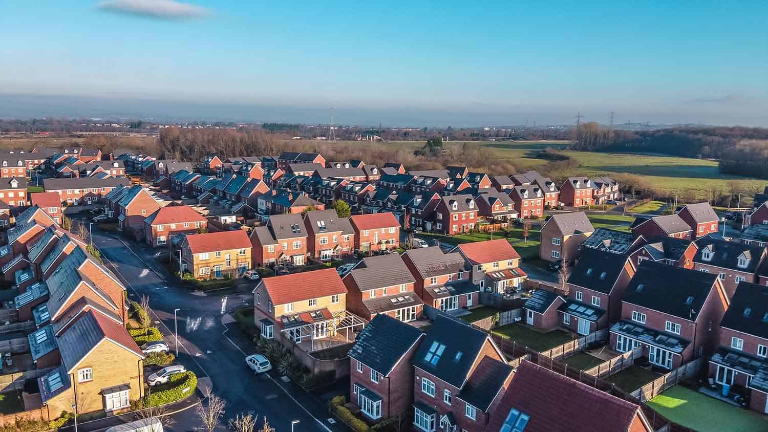 Arial view of new build houses in England