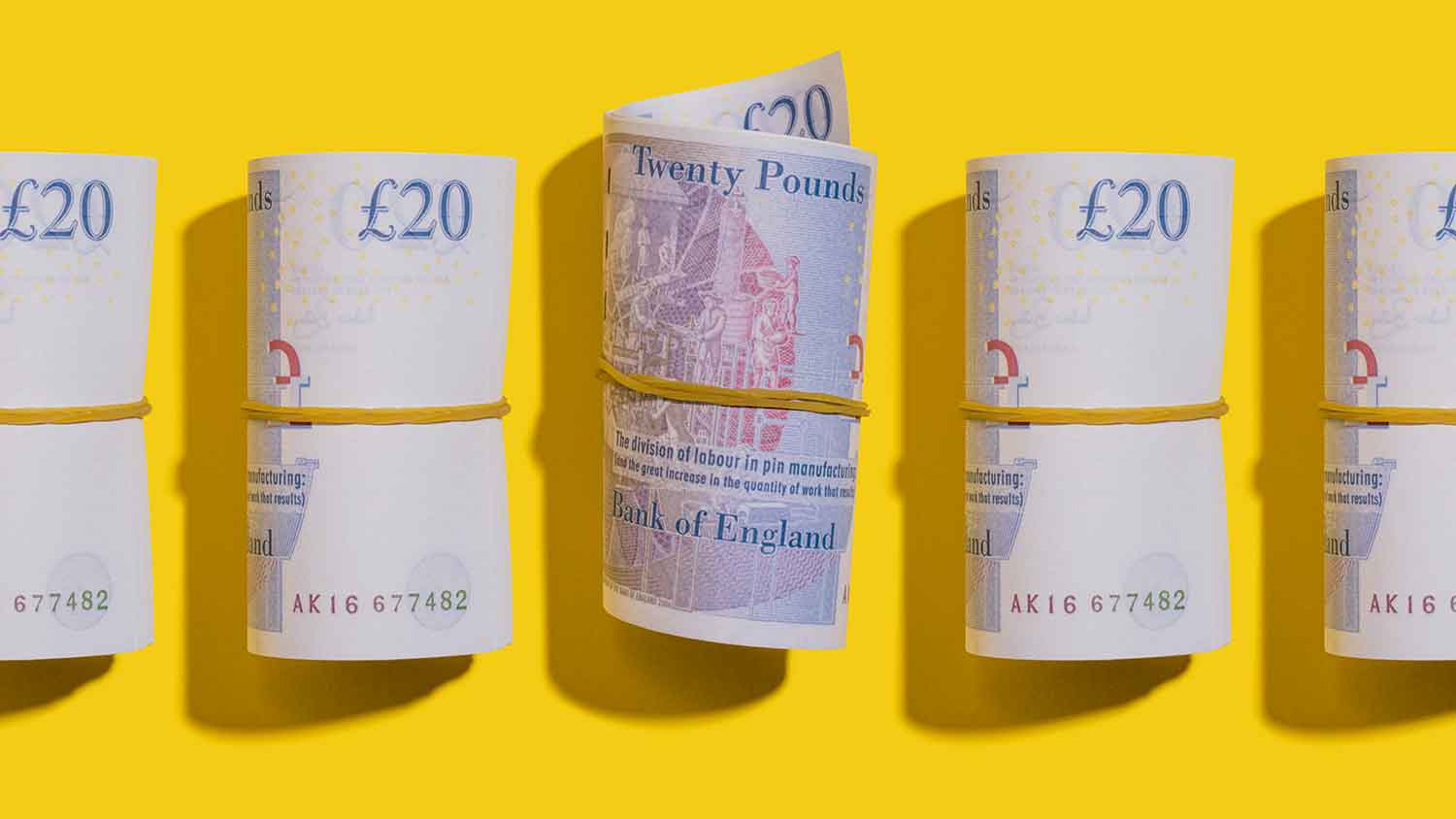 Rolls of £20 notes
