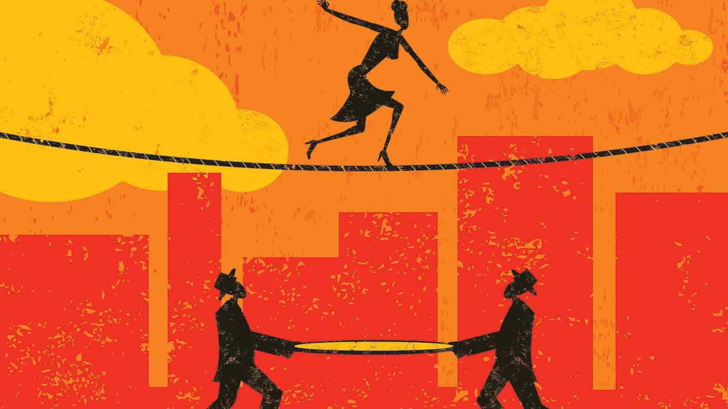 Cartoon image of a woman on a tightrope and two men underneath ready to catch her with a net