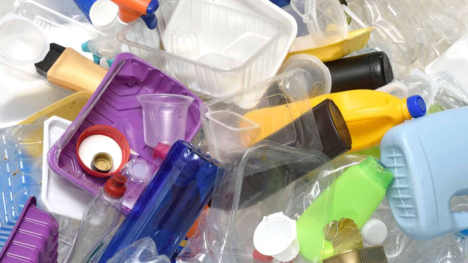 Different styles and types of plastic piled up