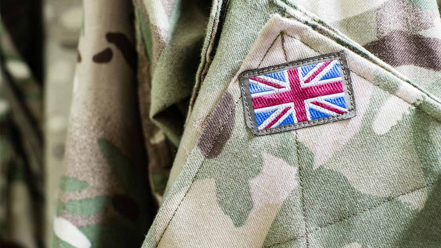 British flag on the arm of an army uniform