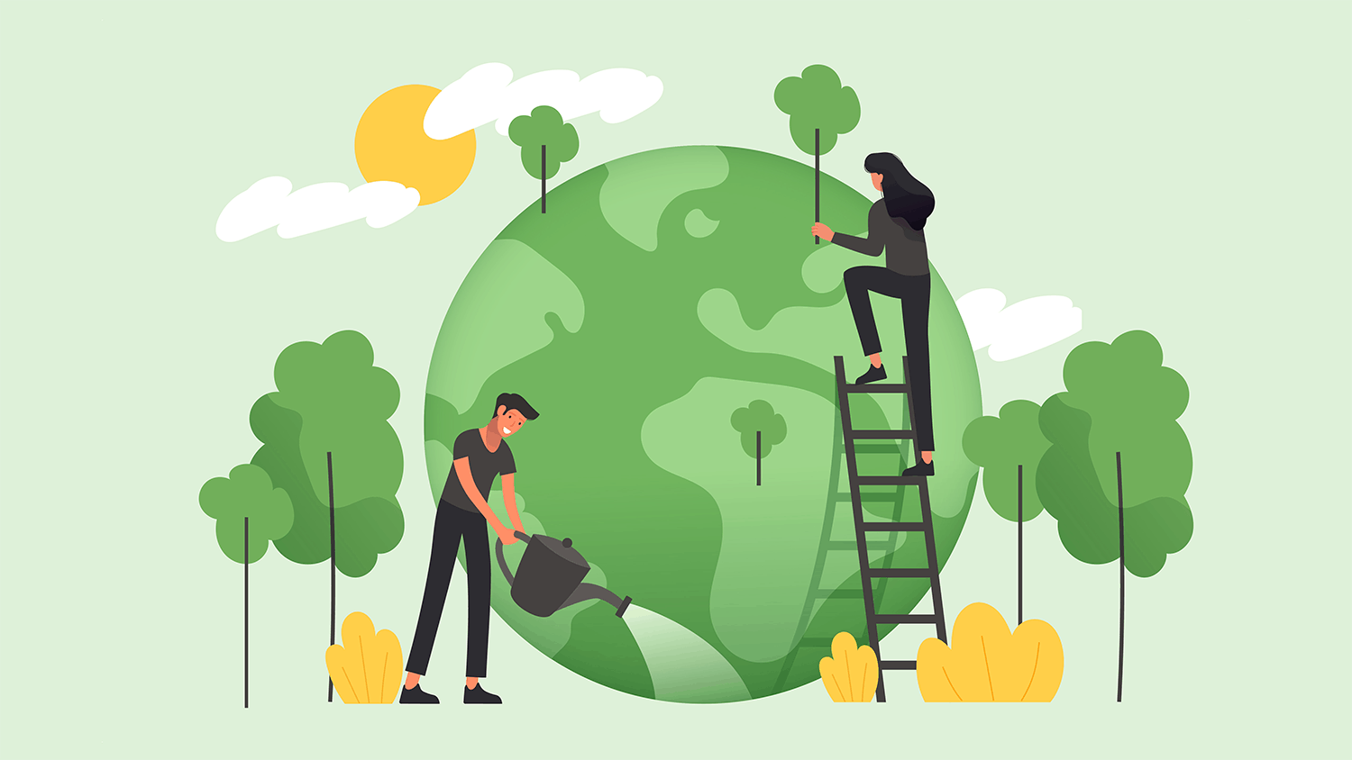 Cartoon man and a woman watering and repairing the earth (coloured green)