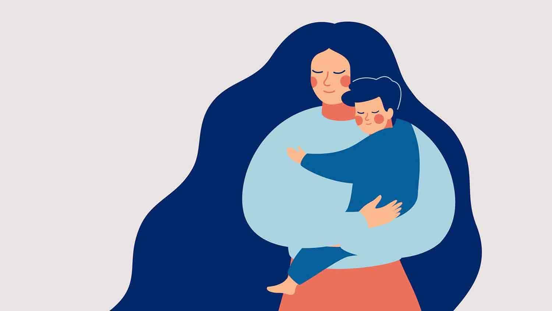 Cartoon of a mother hugging a toddler