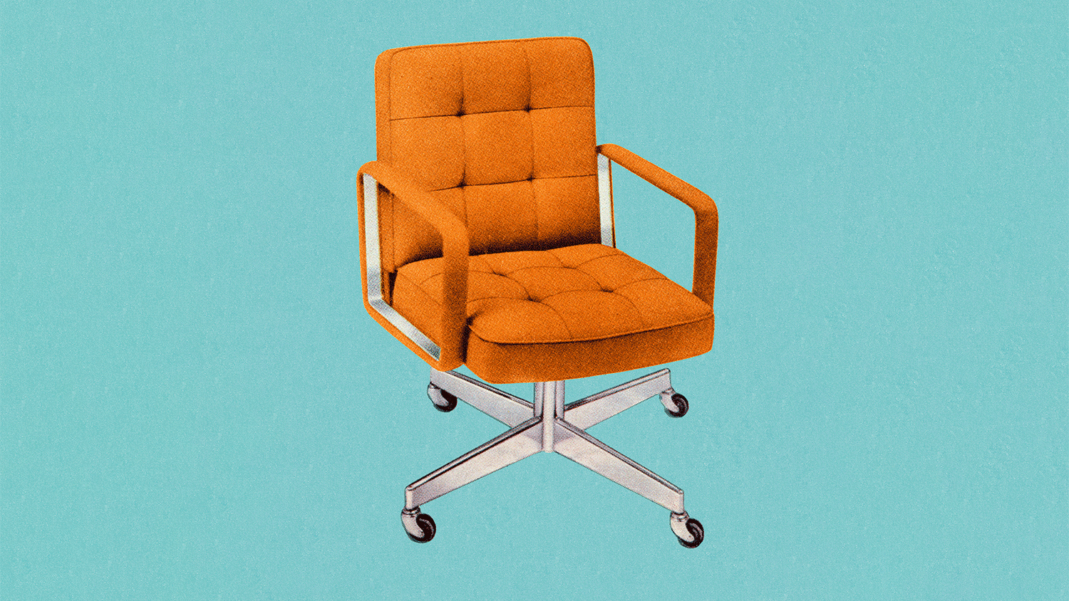 A 60s style chair with orange upholstery sits on a blue background