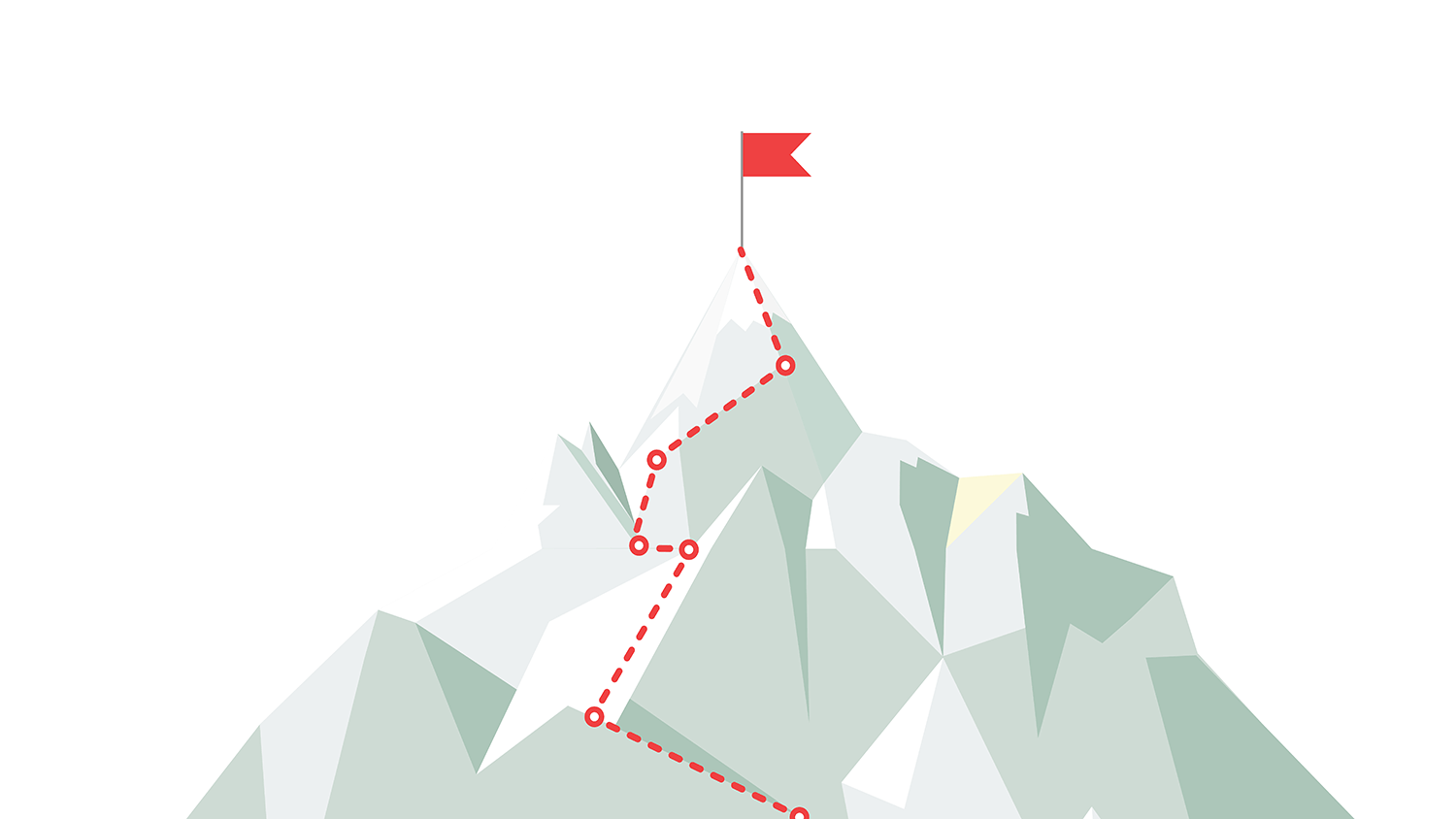 A cartoon graphic of a mountain and a dotted line traces a route to the top where a red flag sits.