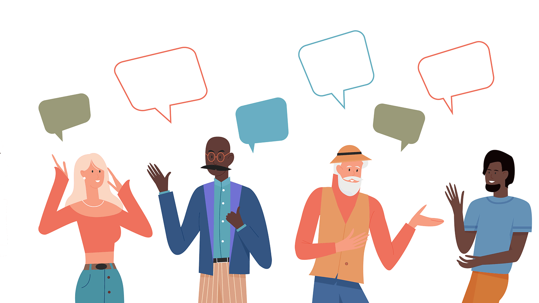 Cartoon people with speech bubbles around them