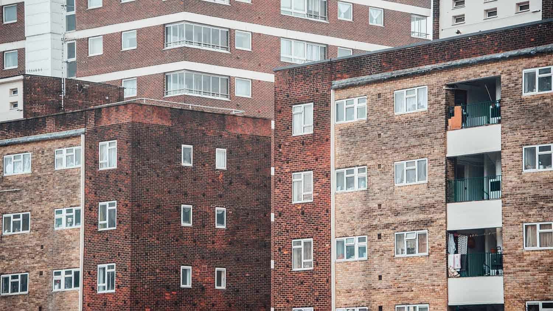 Old blocks of run down flats